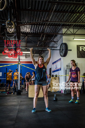 Denver fitness event photography of RX Crossfit Women at the Triple Threat Crossfit Competition in Denver, Colorado.